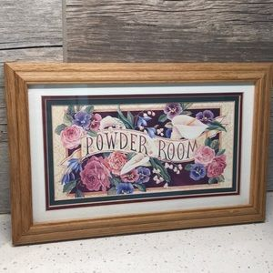 "Framed Floral ""Powder Room"" Sign"